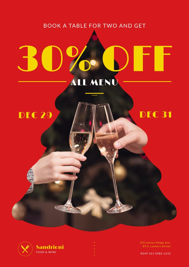 New Year Dinner Offer with People Toasting with Champagne — Crear un diseño