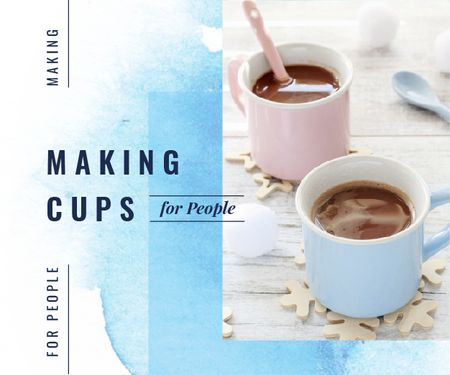 Cafe Ad Cups with Hot Cocoa in Blue Medium Rectangle Modelo de Design