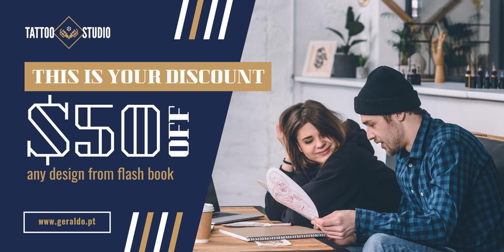 Tattoo Studio Ad People Choosing Design — Create a Design