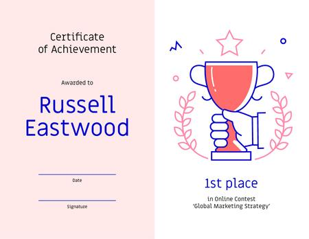 Template di design Marketing Contest award Achievement with Cup Certificate