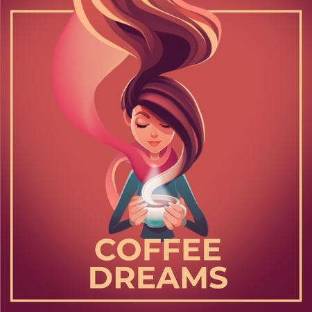 Woman with Hot Cup of Coffee Animated Post Modelo de Design