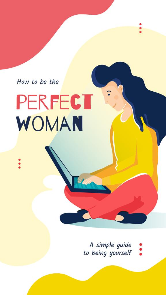 Woman working on laptop — Create a Design