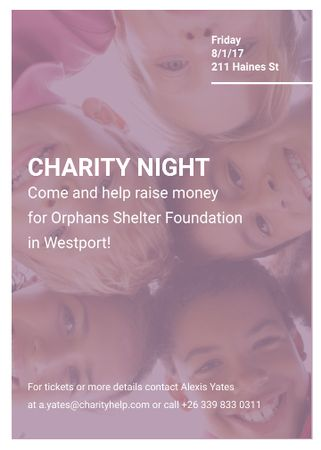 Happy kids in circle on Charity Night Flayer Design Template