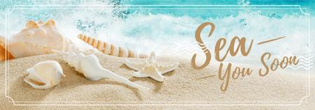 Template di design Travelling Inspiration with Shells on Sand Tumblr