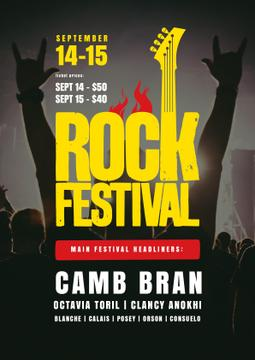 Rock Festival Poster Cheerful Crowd | Poster Template