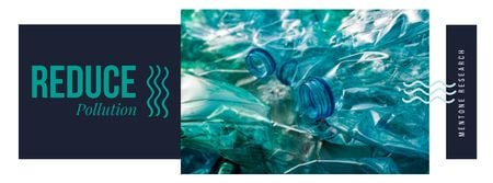 Plastic bottles in water Facebook cover Design Template