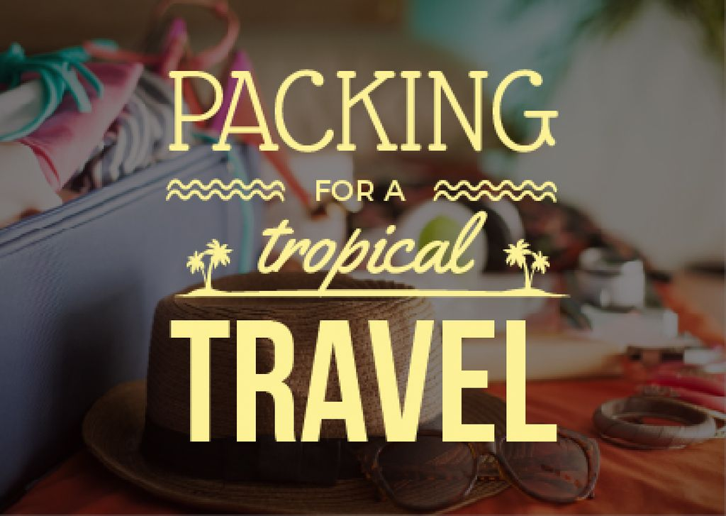 Packing for a tropical travel poster — Crear un diseño