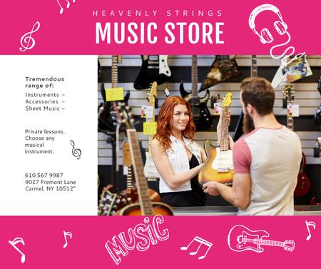 Ontwerpsjabloon van Facebook van Music Store Ad Woman Selling Guitar