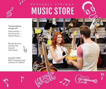 Modèle de visuel Music Store Ad Woman Selling Guitar - Facebook