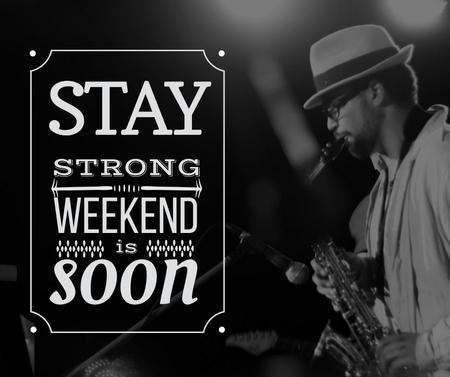 Jazz Musician playing Saxophone on Weekend Facebookデザインテンプレート