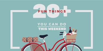 Weekend Ideas Red Bicycle with Food | Twitter Post Template