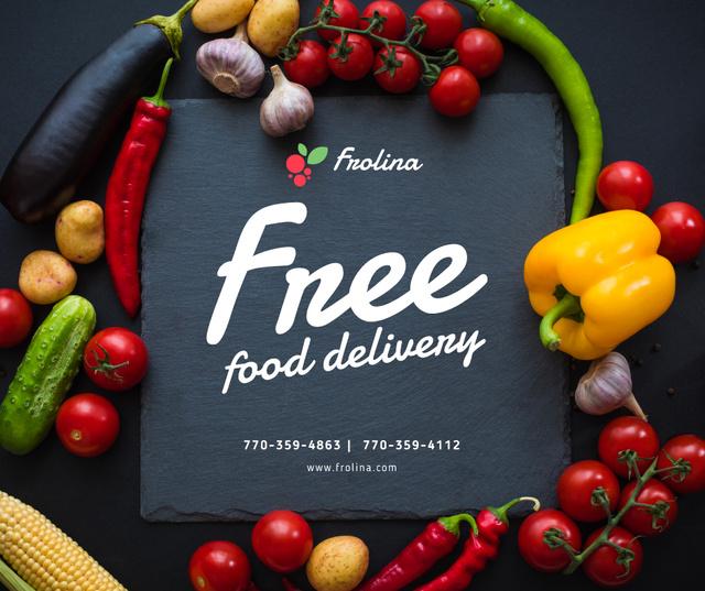 Food Delivery Service in vegetables frame Facebook Modelo de Design