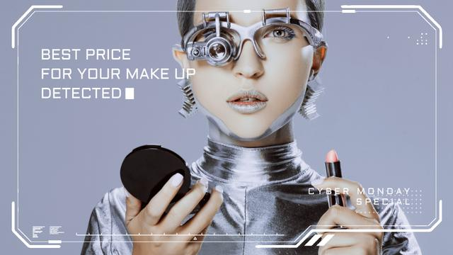 Template di design Cyber Monday Sale Woman Robot with Lipstick Full HD video