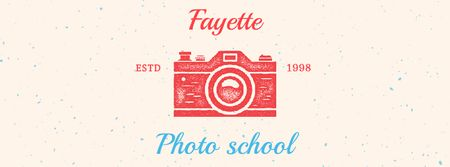 Photo School Ad Stamp of Camera Facebook Video cover Modelo de Design