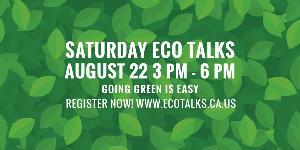 Ecological Event Announcement in Green Leaves Texture — Crea un design