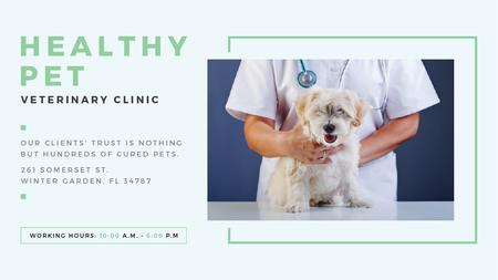 Template di design Vet Clinic Ad Doctor Holding Dog Title
