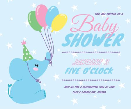 Plantilla de diseño de Funny elephant with balloons for Baby Shower Facebook