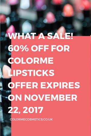Plantilla de diseño de Cosmetics website Ad with Lipsticks Pinterest