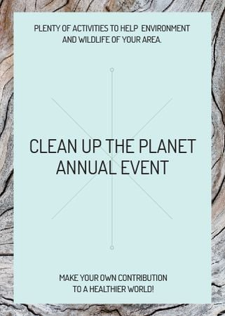 Ontwerpsjabloon van Invitation van Ecological event announcement on wooden background