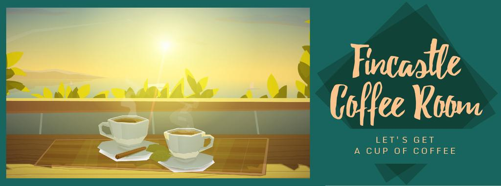 Two cups of coffee by window — Crea un design
