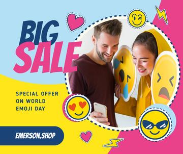 World Emoji Day Offer with Couple Taking Selfie for Facebook Post