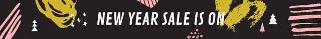 Szablon projektu New Year Sale Ad Colorful Paint Blots Leaderboard