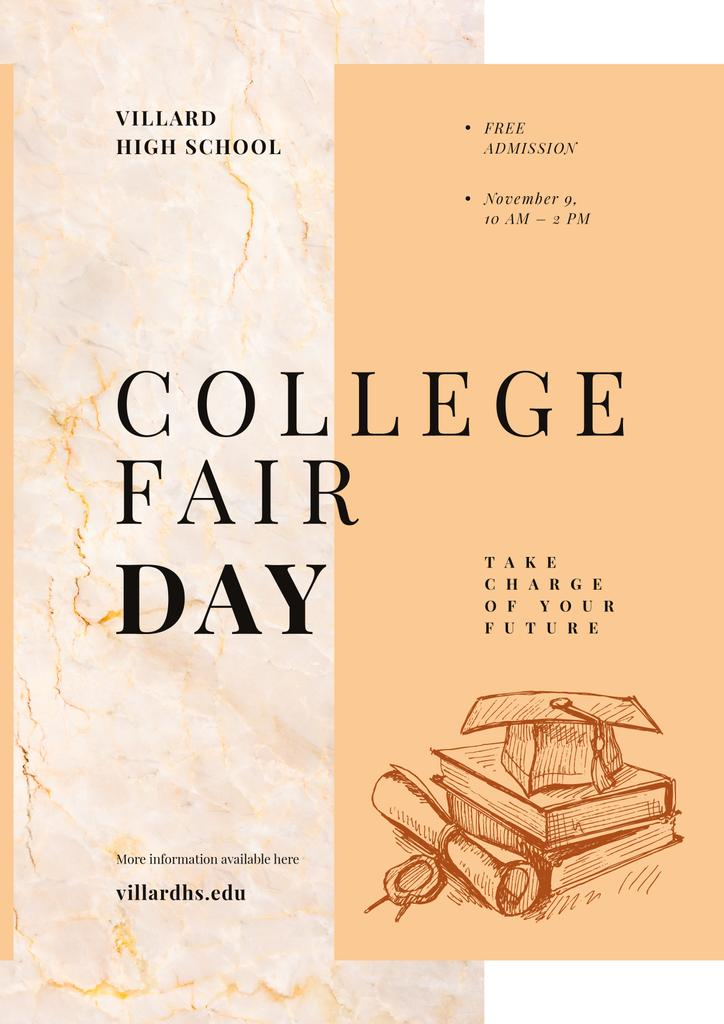 College Fair Announcement Books with Graduation Hat — Create a Design