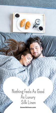 Plantilla de diseño de Bed Linen ad with Couple sleeping in bed Graphic