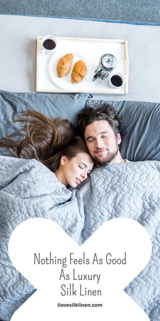 Ontwerpsjabloon van Graphic van Bed Linen ad with Couple sleeping in bed