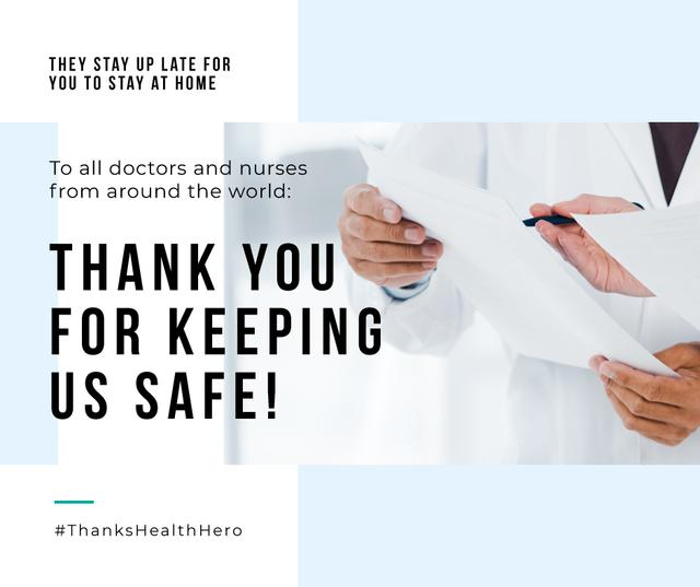 Plantilla de diseño de #ThanksHealthHero Coronavirus awareness with Doctors team in clinic Facebook