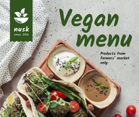 Template di design Restaurant menu offer with vegan dish Facebook
