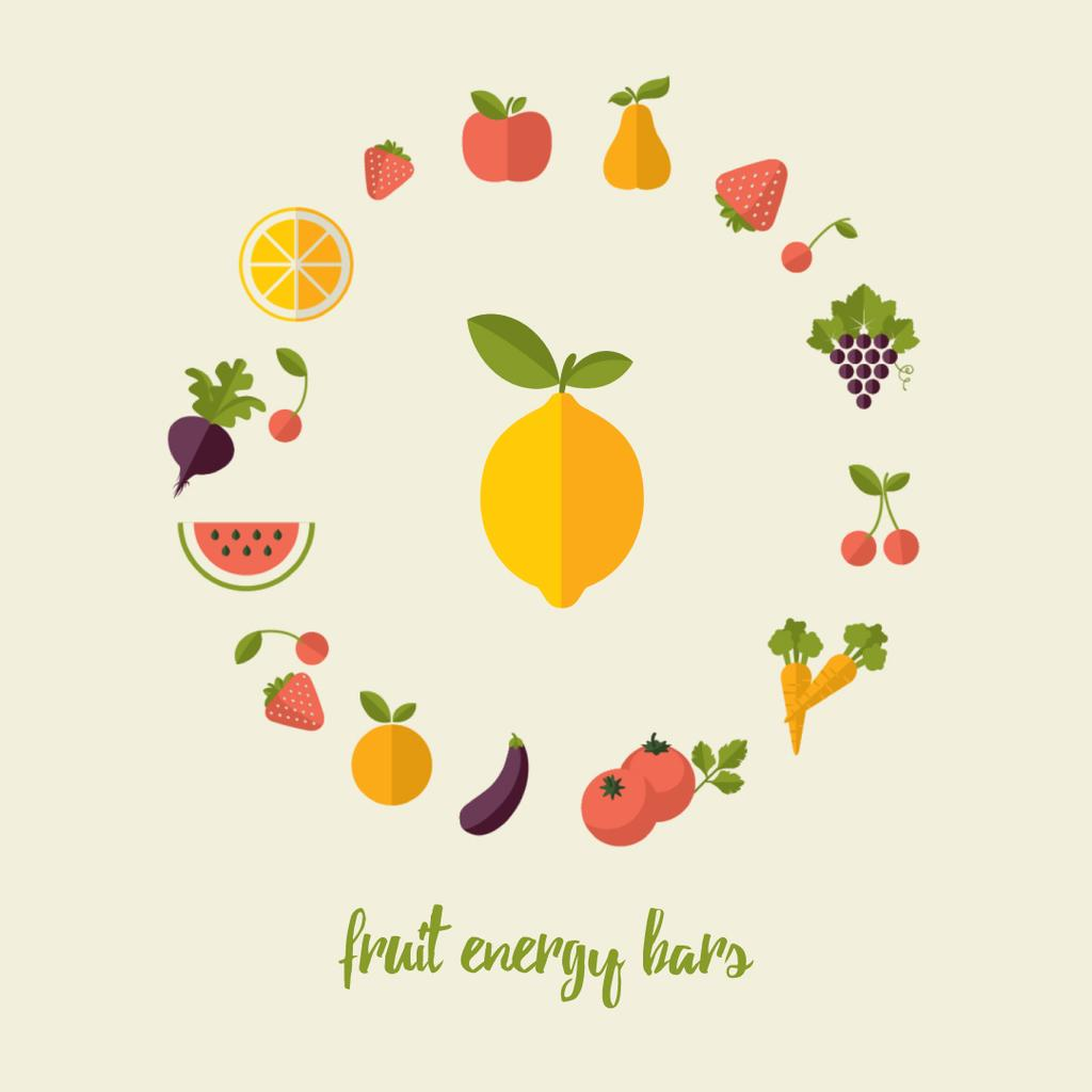 Circle frame of rotating fruits and vegetables — Créer un visuel