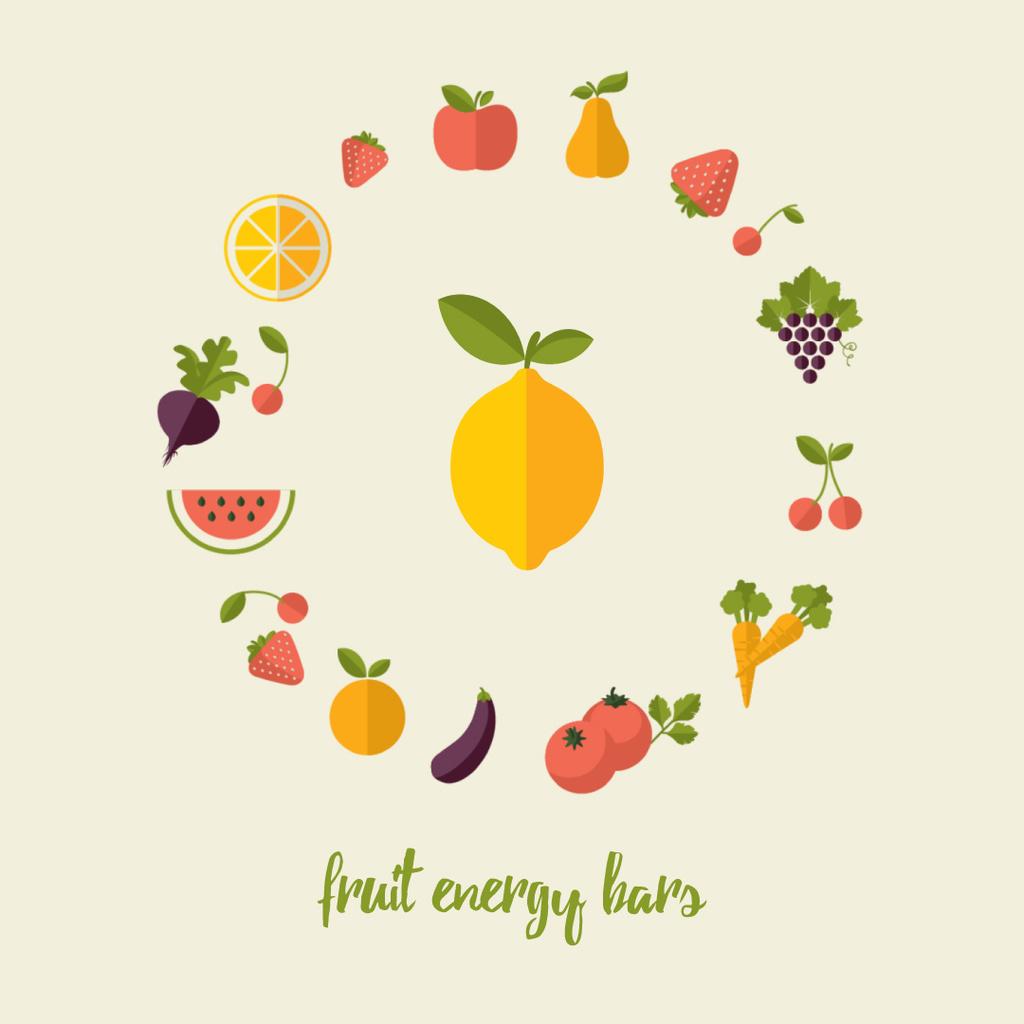 Circle frame of rotating fruits and vegetables — Crea un design