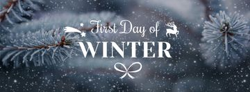 Winter Greeting Frozen Fir Tree Branch | Facebook Cover Template