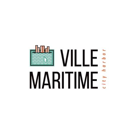 Modèle de visuel City Harbor Icon with Sea Waves - Logo