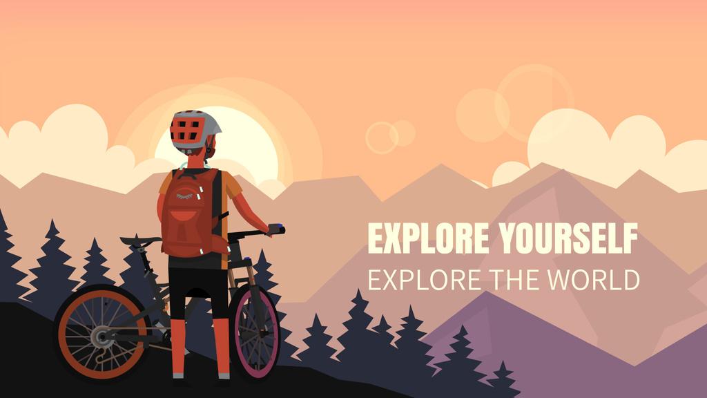 Cyclist admiring mountains view — Maak een ontwerp