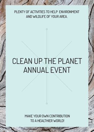 Plantilla de diseño de Ecological event announcement on wooden background Flayer