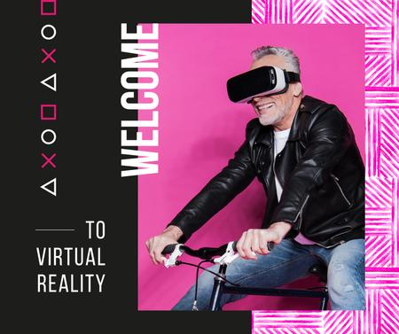 Man using vr glasses on bicycle Facebook Modelo de Design
