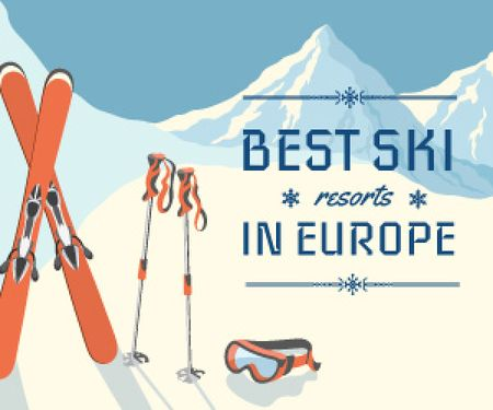 Plantilla de diseño de best ski resorts in Europe poster Medium Rectangle