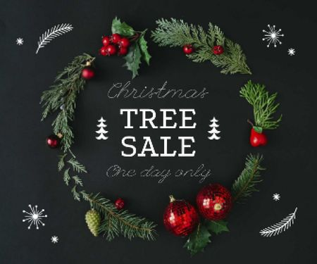 Designvorlage Christmas Tree Sale Decorated Wreath für Large Rectangle