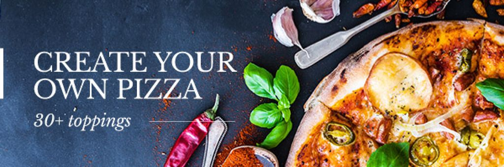 Delicious pizza with ingredients — Maak een ontwerp