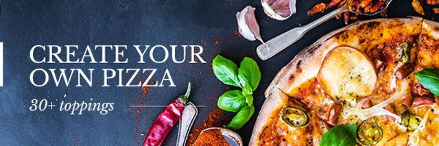 Delicious pizza with ingredients Email header Design Template