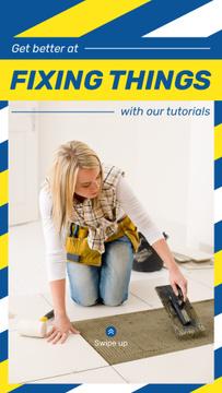 Woman Fixing Tiles