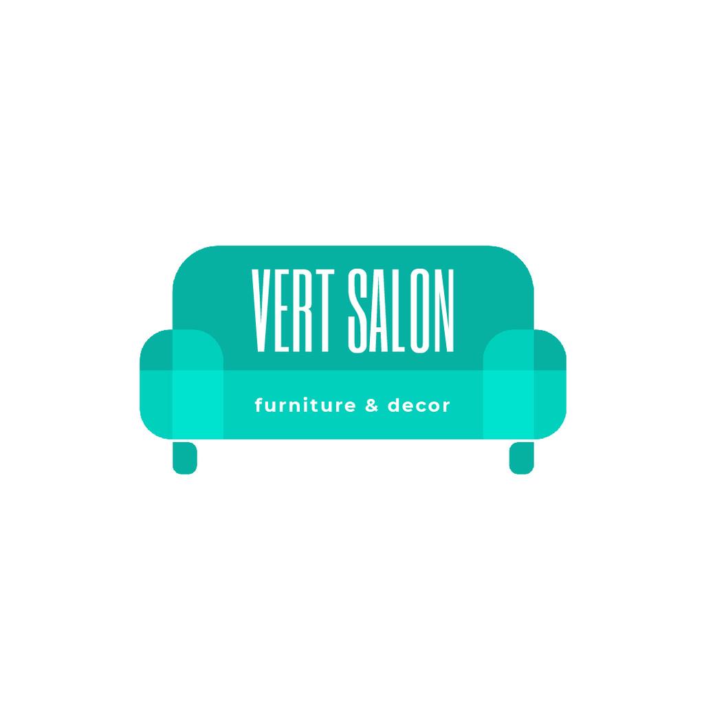 Furniture Salon Ad with Blue Sofa Logo Design Template