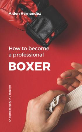 Boxer bandaging his hands Book Cover Tasarım Şablonu