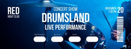 Plantilla de diseño de Concert Show with Musician playing Drums Ticket