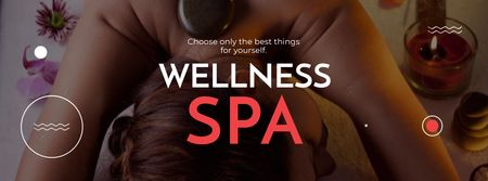 Template di design Wellness Spa Ad Woman Relaxing at Stones Massage Facebook cover