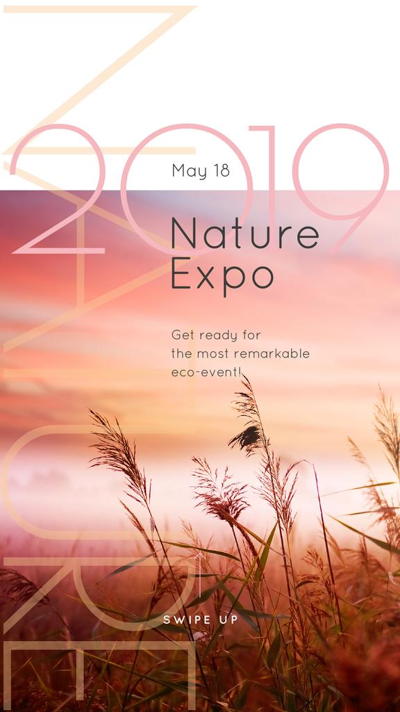 Natural Expo Annoucement with Foggy morning field Instagram Story Design Template