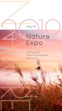Natural Expo Annoucement with Foggy morning field