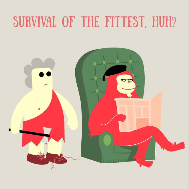 Reading Ape and Caveman in Library Animated Post Modelo de Design